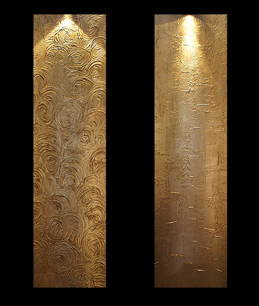 Gold leaf wall lamps